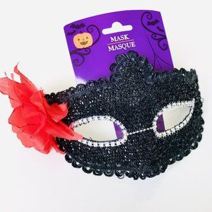 Black Masquerade Mask w/ Red Flower